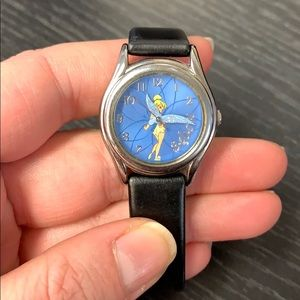 Disney tinker bell black leather watch